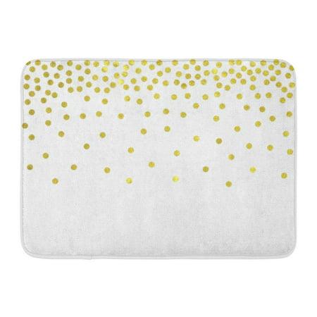 SIDONKU Overlay Polka Dot Gold Confetti Border Christmas Shimmer White Golden Doormat Floor Rug Bath Mat 23.6x15.7 inch ()
