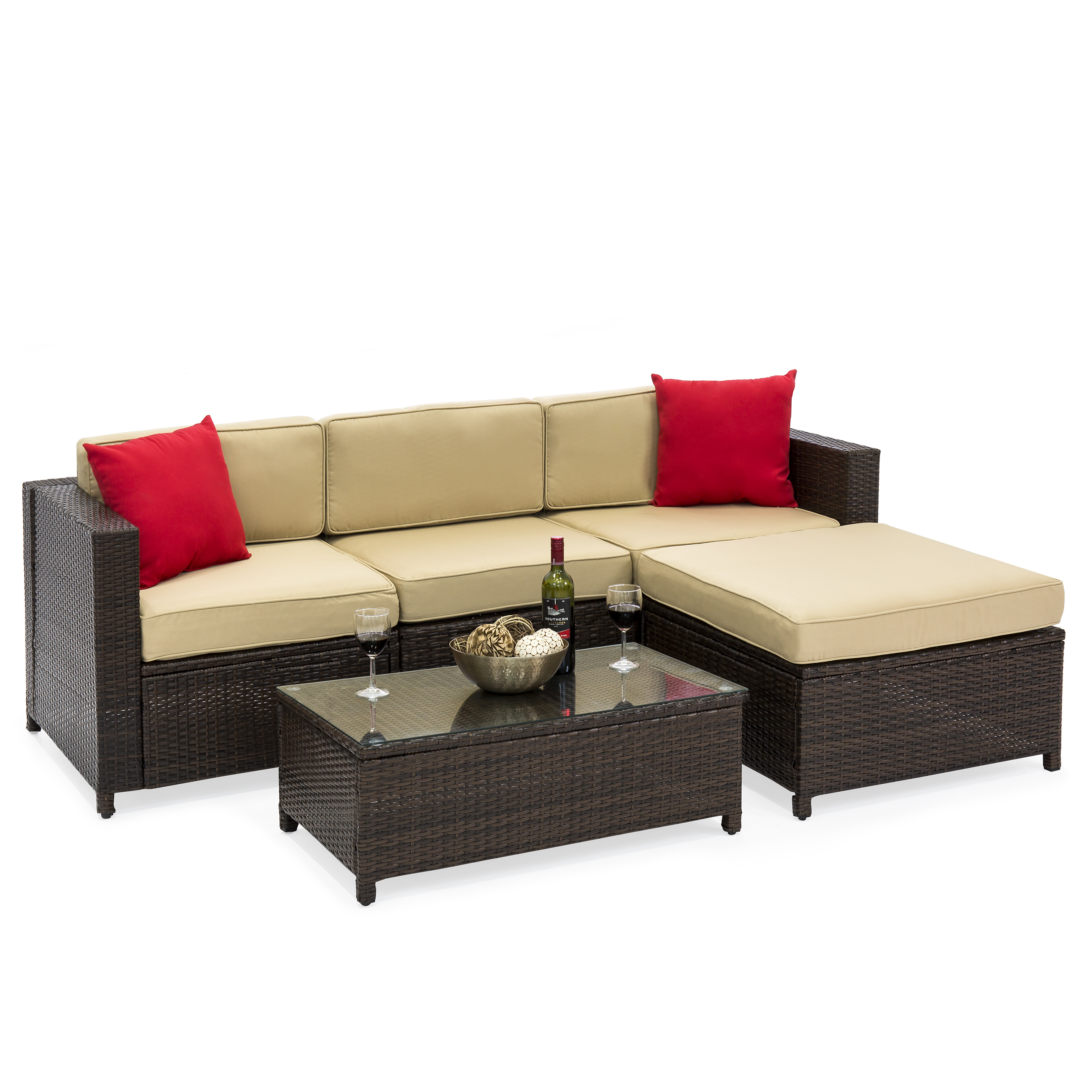 Best Choice Products 5-Piece Modular Wicker Patio Sectional Set w/ Glass Tabletop, Removable Cushion Covers - Brown
