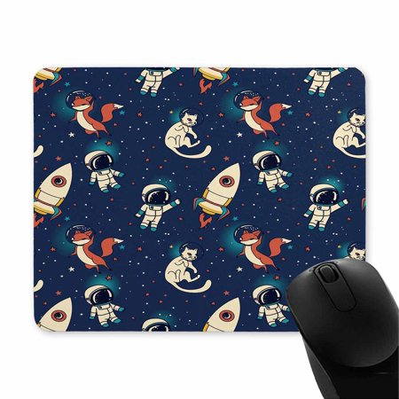 POP Cosmic Cute Doodle Boys, Rockets, Foxes and Cats Floating in Space Printed Mousepad Non Slip Rubber Gaming Mouse Pad 9x10 inch - image 1 of 2