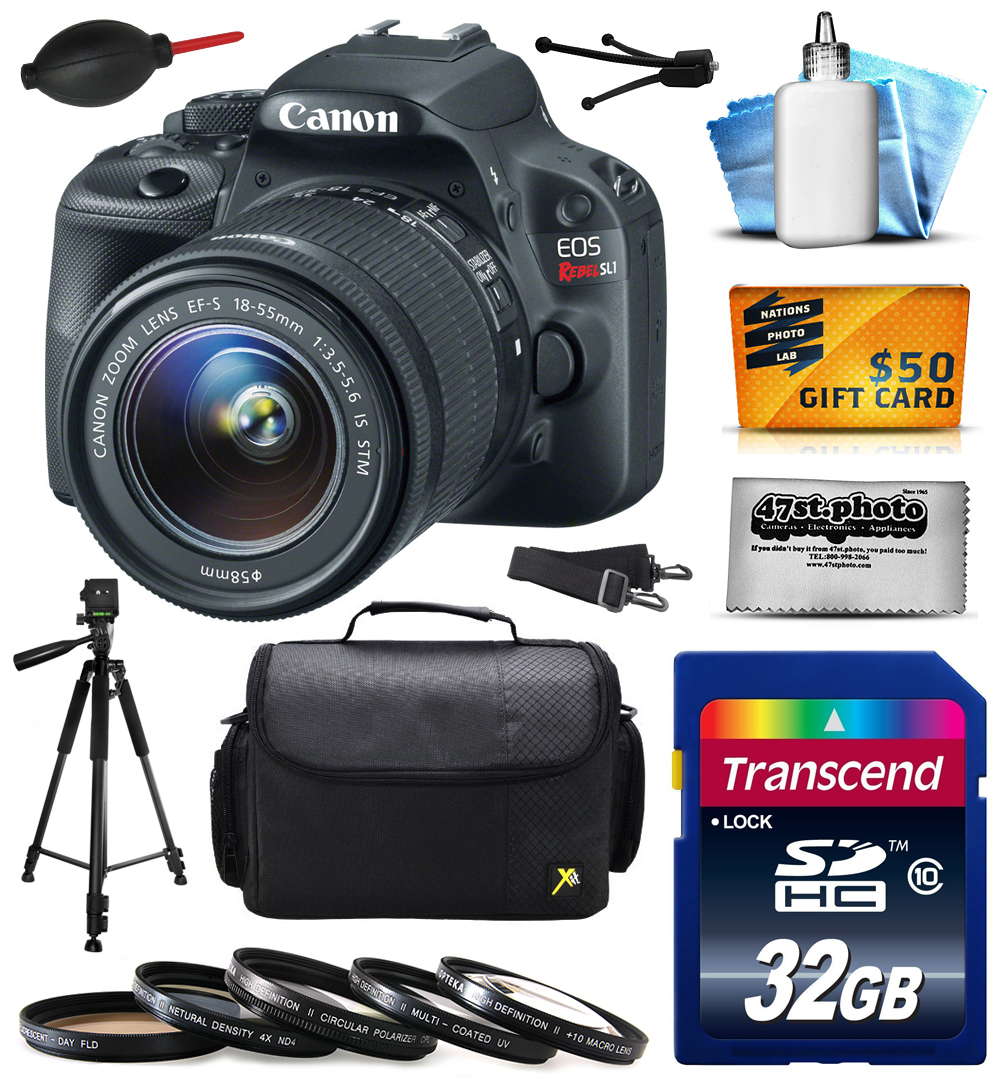 Canon EOS Rebel SL1 Digital SLR with 18-55mm STM Lens with 32GB Memory + Large Case + Tripod + 5 Piece UV-CPL-FL-ND4-10x Filters + Dust Blower + Cleaning Kit + $50 Gift Card  8575B003