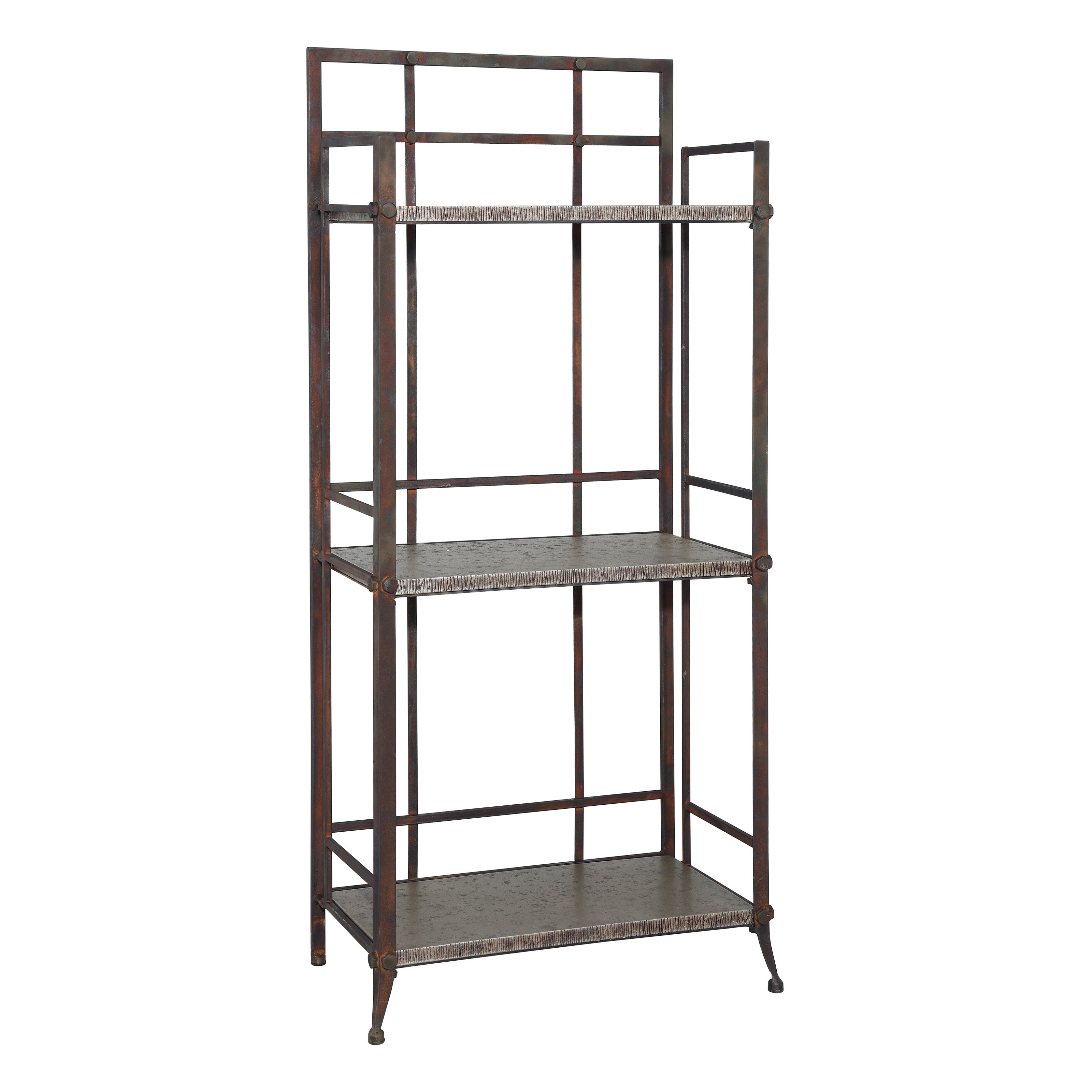 Powell Foundry Antique Pewter Finish 3-Shelf Bookcase with Gallery Crown