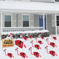 You've Been Flocked set of 12 Christmas Flamingos