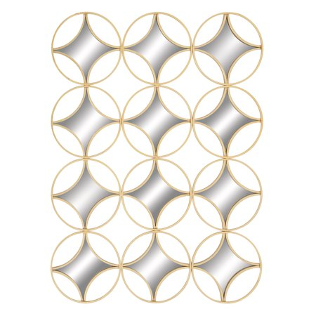Contemporary Gold Metal Circle & Diamond Wall Accent Art Mirror Decoration ()