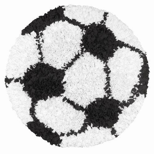The Rug Market 02253R Shaggy Raggy Soccer Ball Area Rug