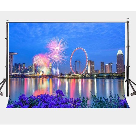 ABPHOTO Polyester 7x5ft Singapore City Night View Backdrop Sky Wheels Colorful Fireworks Photography Background Party Studio Props
