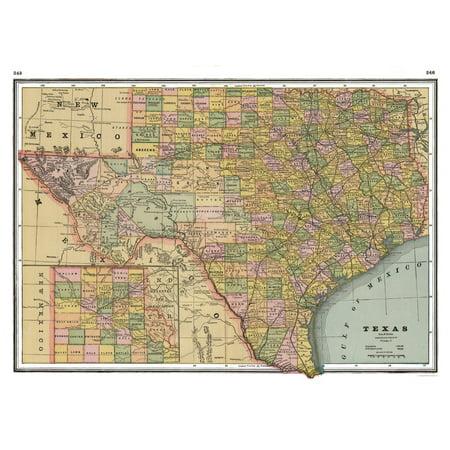 Old State Map - Texas - Johnson 1888 - 32.42 x 23 - Walmart.com