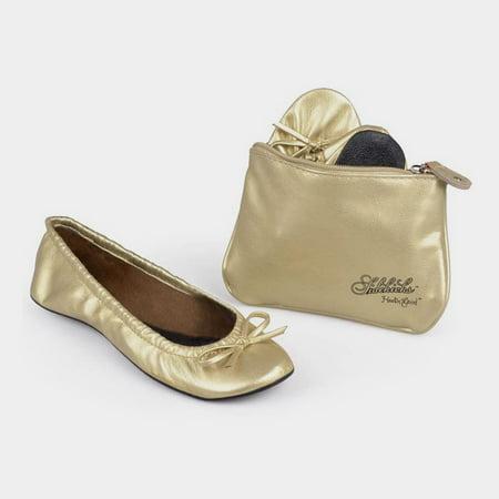 Sidekicks Original Gold, Folding Ballet - Childrens Gold Ballet Flats