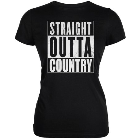 Straight Outta Country Black Juniors Soft T-Shirt - Malleable Straight Tee