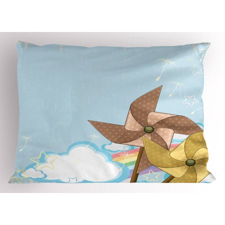 Vintage Rainbow Pillow Sham Fantastic Blue Sky with Clouds Stars Dandelion Seeds and Two Pinwheels, Decorative Standard Size Printed Pillowcase, 26 X 20 Inches, Multicolor, by Ambesonne