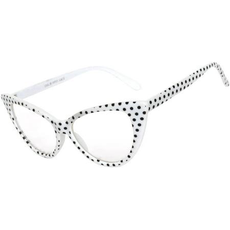 Retro Women's Cat Eye Vintage Sunglasses UV Protection White Dots Frame Clear Lens Brand OWL