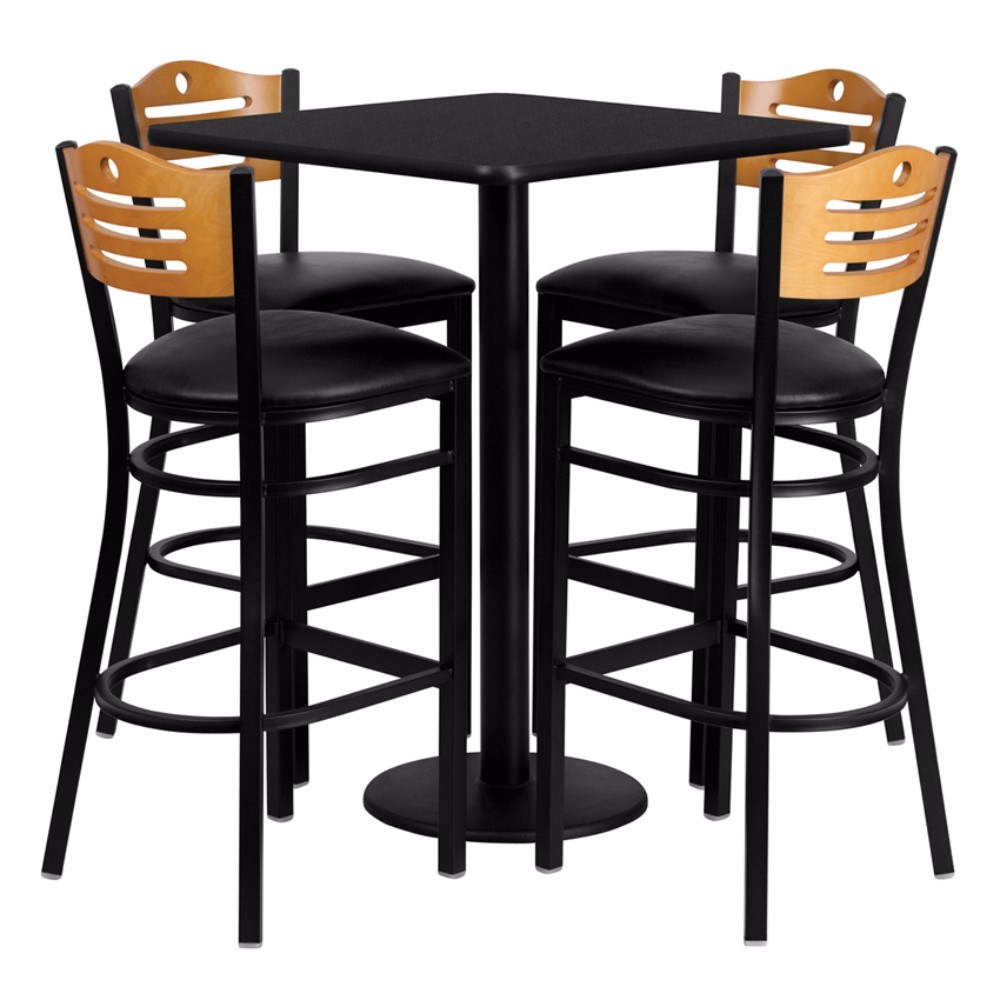 "Offex 30"" Square Black Laminate Table Set With 4 Wood Slat Back Metal Barstools - Black Vinyl Seat [OF-MD-0019-GG]"
