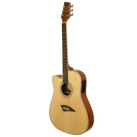 Kona K2LN Left Handed Thin Body Acoustic/Electric Guitar With Spruce Top In High Gloss Natural Finish
