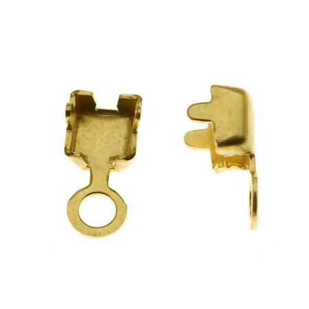 Raw Brass Foldover 18PP Cup Chain Crimp On Ends For Cup Chain (20 Pieces)