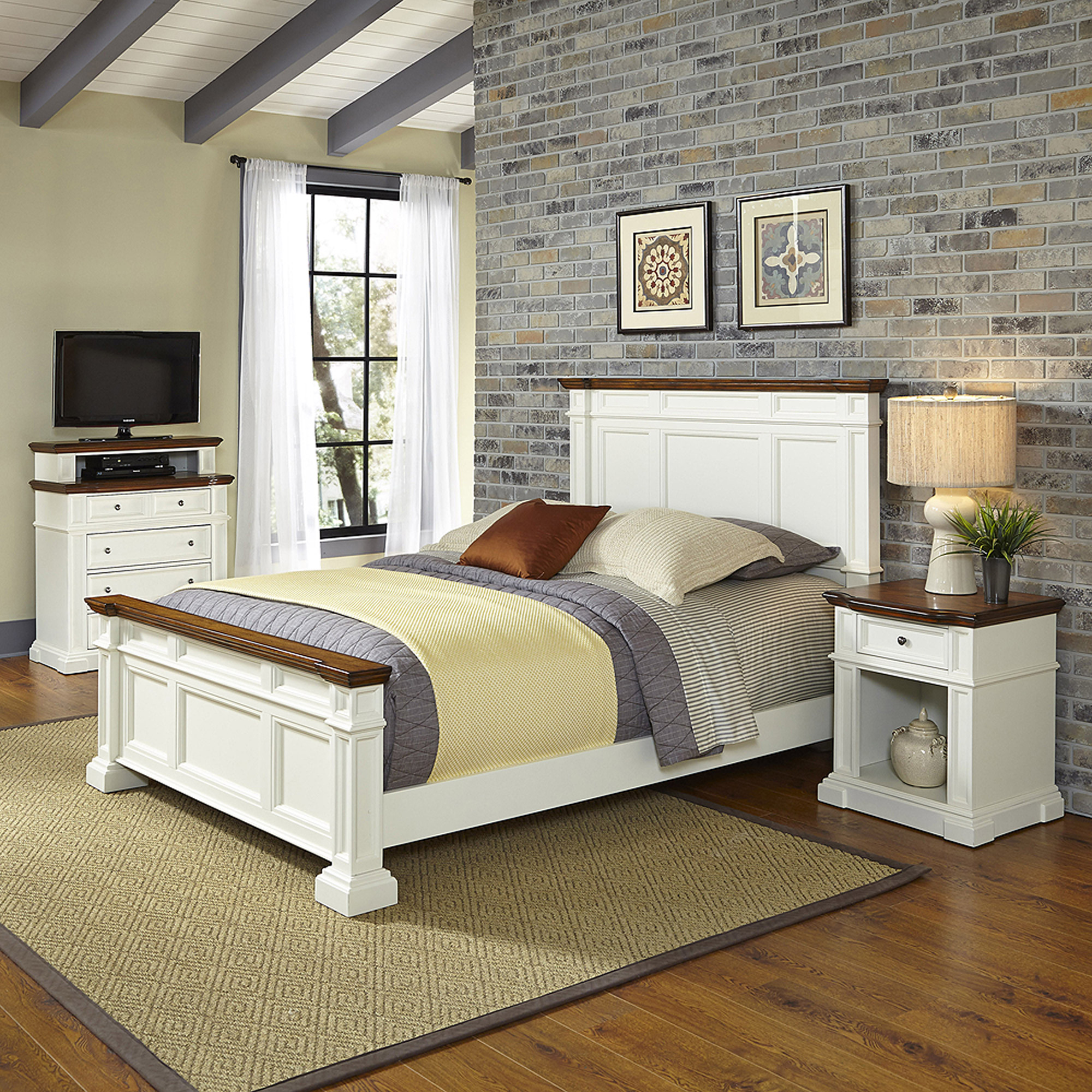 Home Styles Americana King Bed, Night Stand and Media Chest