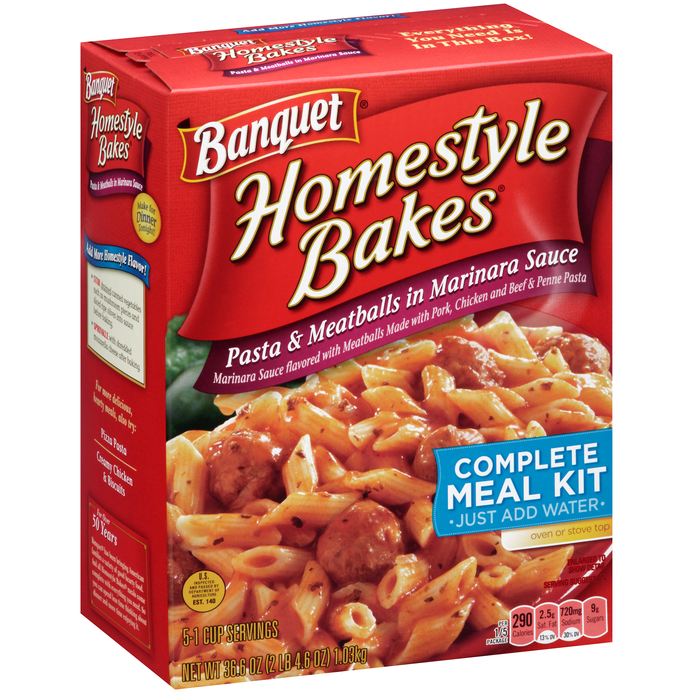 Banquet Home-style Bakes Pasta & Meatballs in Marinara Sauce, 36.6 ounces
