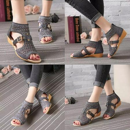 Gladiator Women Shoes (Women Gladiator Sandals Leather Zipper Hollow High Heels Summer Shoes)
