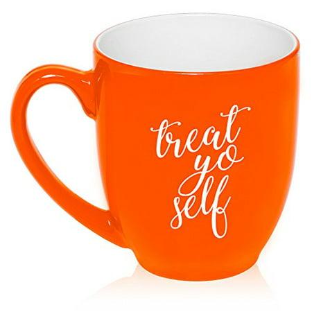 16 oz Large Bistro Mug Ceramic Coffee Tea Glass Cup Treat Yo Self (Orange)