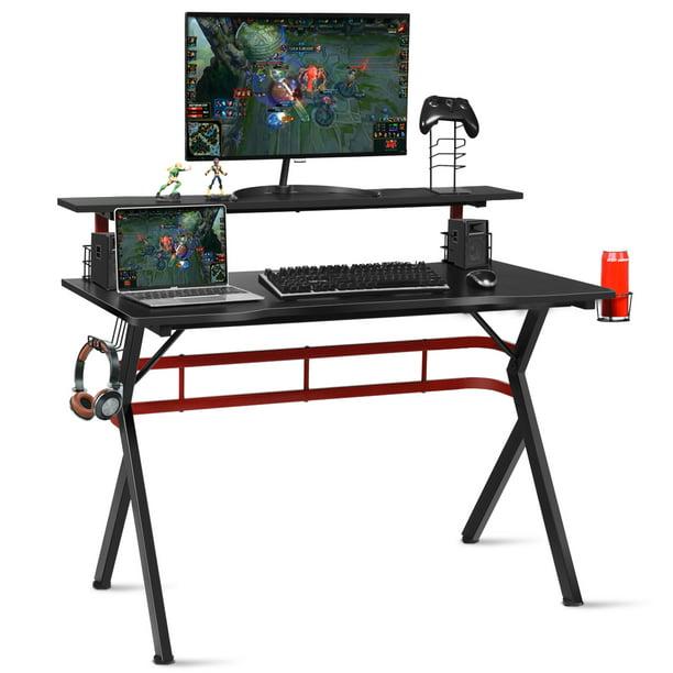 Costway Gaming Computer Desk w/ Monitor Shelf & Storage for Controller Headphone Speaker
