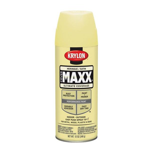 Krylon 1762343 Satin Meringue Paint Plus Primer Spray Paint 44 12 Oz Pack Of 6 Walmart Com Walmart Com