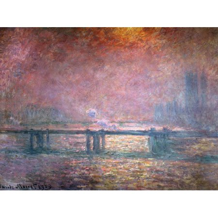 The Thames at Charing Cross, 1903 Monet Impressionism Scenic Pink Sunset River Bridge Landscape Print Wall Art By Claude Monet Claude Monet Sunset In Venice