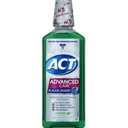 ACT Advanced Care Plaque Guard Antigingivitis/Antiplaque Mouthwash, Clean Mint, 18 Oz