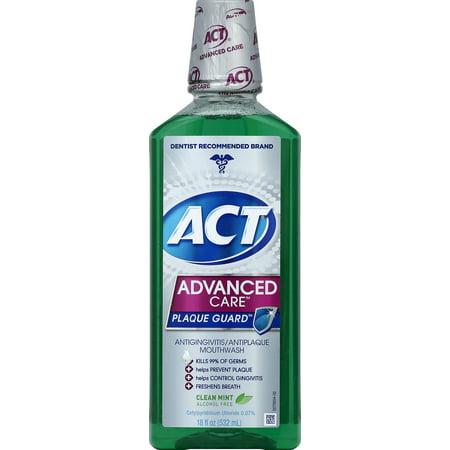 ACT Advanced Care Plaque Guard Antigingivitis/Antiplaque Mouthwash, Clean Mint, 18 Oz