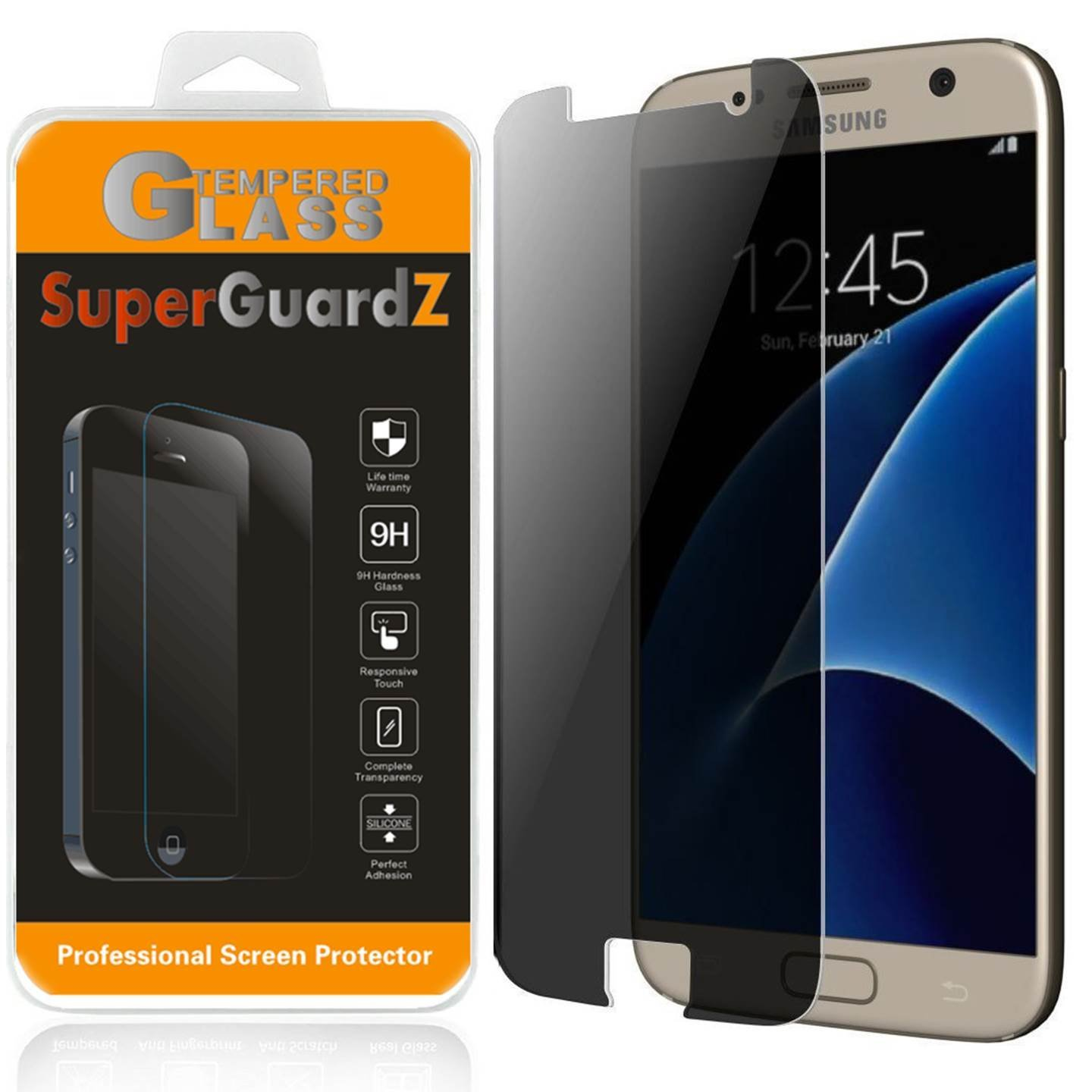 For Samsung Galaxy S7 - SuperGuardZ Privacy Anti-Spy Tempered Glass Screen Protector, 9H, Anti-Scratch, Anti-Bubble, Anti-Fingerprint