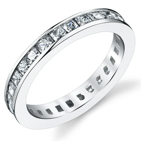 3MM Sterling Silver Princess Cut Cubic Zirconia CZ Wedding Engagement Eternity Band Ring