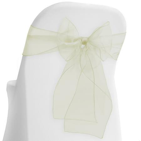 Lann's Linens - 10 Elegant Organza Wedding/Party Chair Cover Sashes/Bows - Ribbon Tie Back Sash (Multiple - Ivory Ribbon