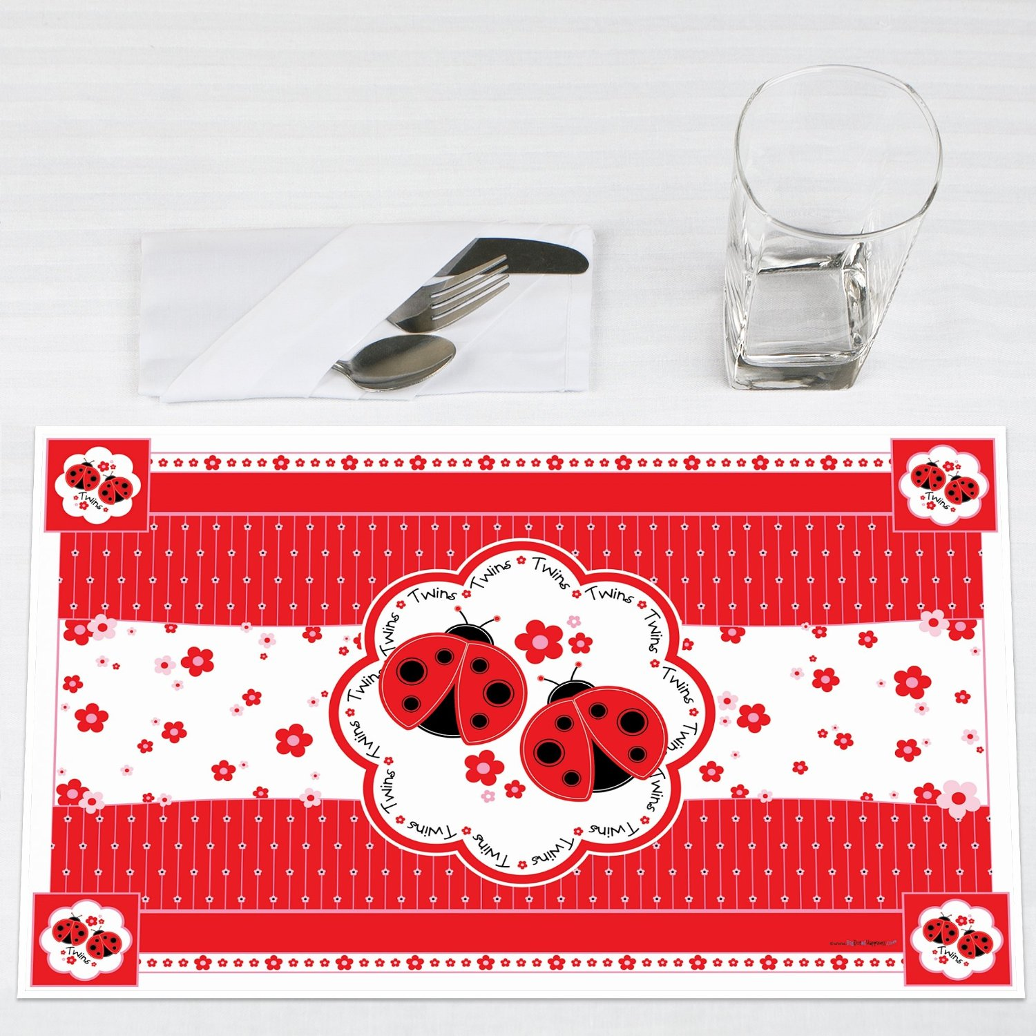 Twin Modern Ladybugs Party Placemats Set of 12 by Big Dot of Happiness, LLC