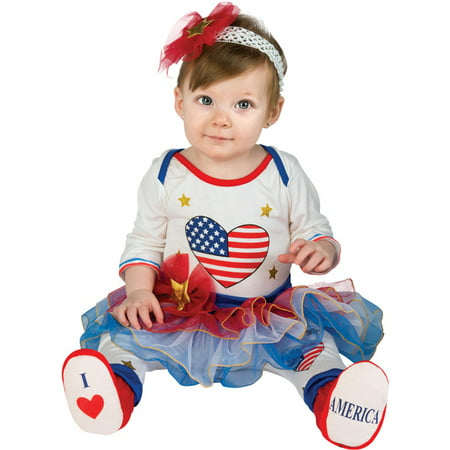 Newborn Little Firecracker Baby Girls First 4Th Of July Costume (6-12 (50's Day Costume)