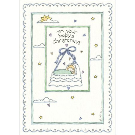 Recycled Paper Greetings Baby Crib on String Christening Congratulations (Things To Write In A Christening Card)
