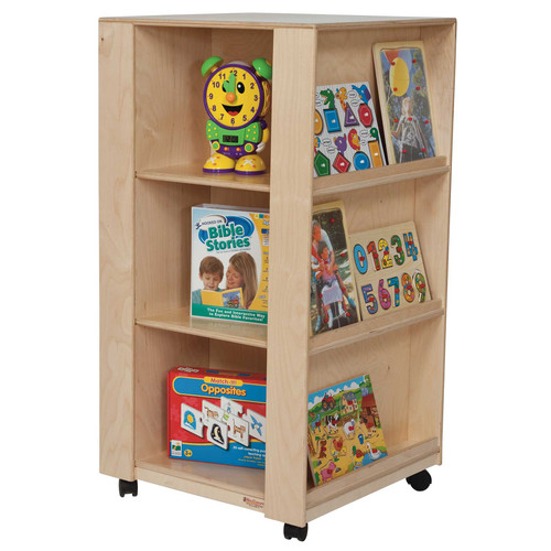 Wood Designs Library Book Display with Casters