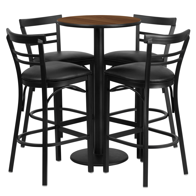 Flash Furniture 24'' Round Walnut Laminate Table Set with 4 Ladder Back Barstools, Black Vinyl Seat