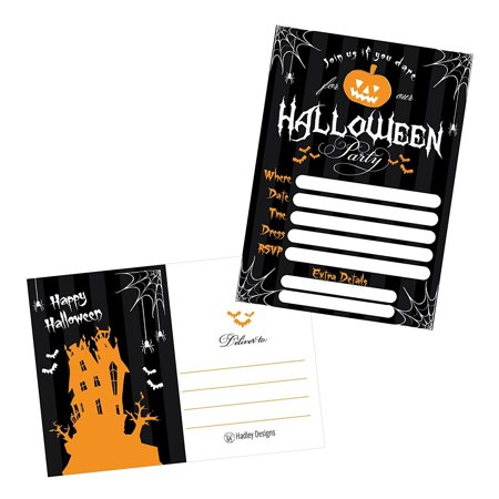 50 Black Halloween Pumpkin Invitations, Kids or Adults Birthday Halloween Party Invites, Monster Trunk or Treat or Trick or Treat Party Invitation, Costume Party (Children's Costume Party Invitation Wording)
