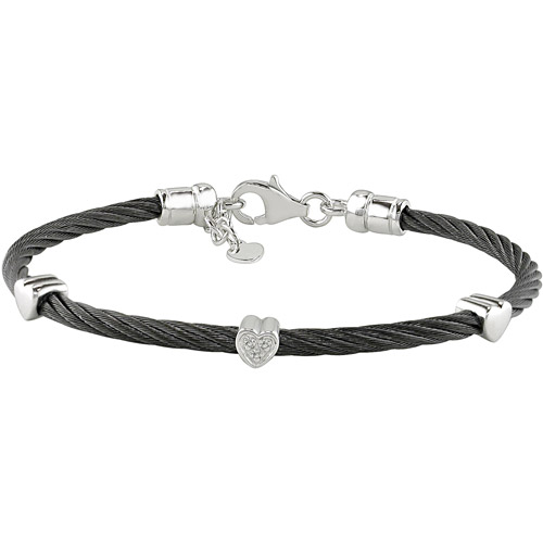 Diamond Accent Sterling Silver and Black Stainless-Steel Heart Bangle