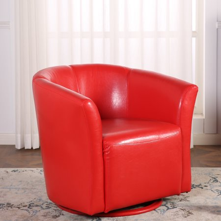 Terrific Belleze Round Swivel Base Modern Style Barrel Cushion Padded Tub Chair Comfort Style With Armrest Red Ibusinesslaw Wood Chair Design Ideas Ibusinesslaworg