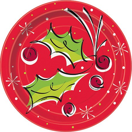 """Unique Holly Berry Pop Christmas 7"""" Dessert Plates, Red White Green, 12 CT"""