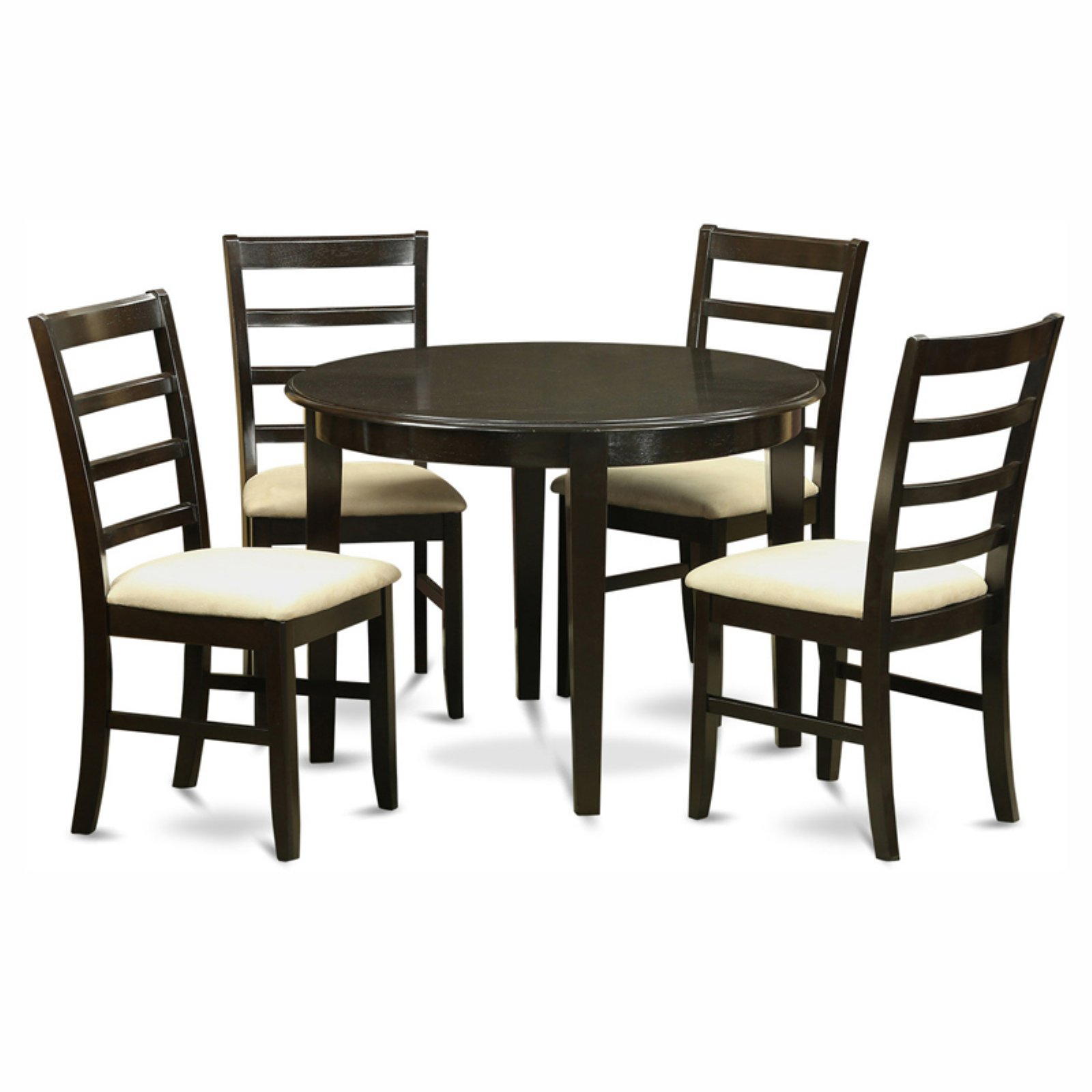 East West Furniture Boston 5 Piece Round Dining Table Set with Parfait Microfiber Seat Chairs