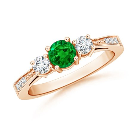 May Birthstone Ring - Cathedral Three Stone Emerald & Diamond Engagement Ring in 14K Rose Gold (5mm Emerald) - SR0658ED-RG-AAAA-5-6.5