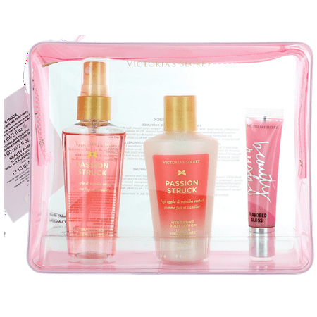 Flavored Lotion - Jett Setter Passion Struck by Victoria's Secret For Women SET: Body Mist 2.0oz +Body Lotion 2.0oz +Flavored Gloss 0.46oz