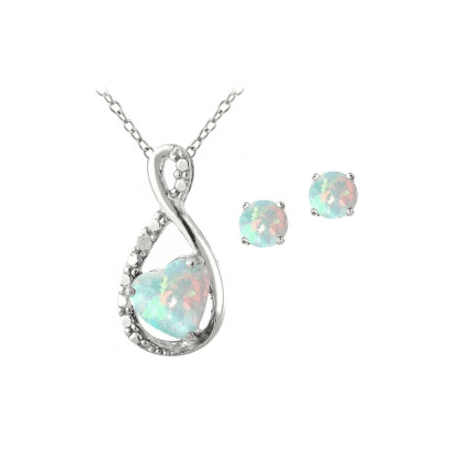 Silver Tone White Jewelry Set - Sterling Silver Created Opal & Diamond Accent Infinity Heart Pendant and Stud Earrings Set