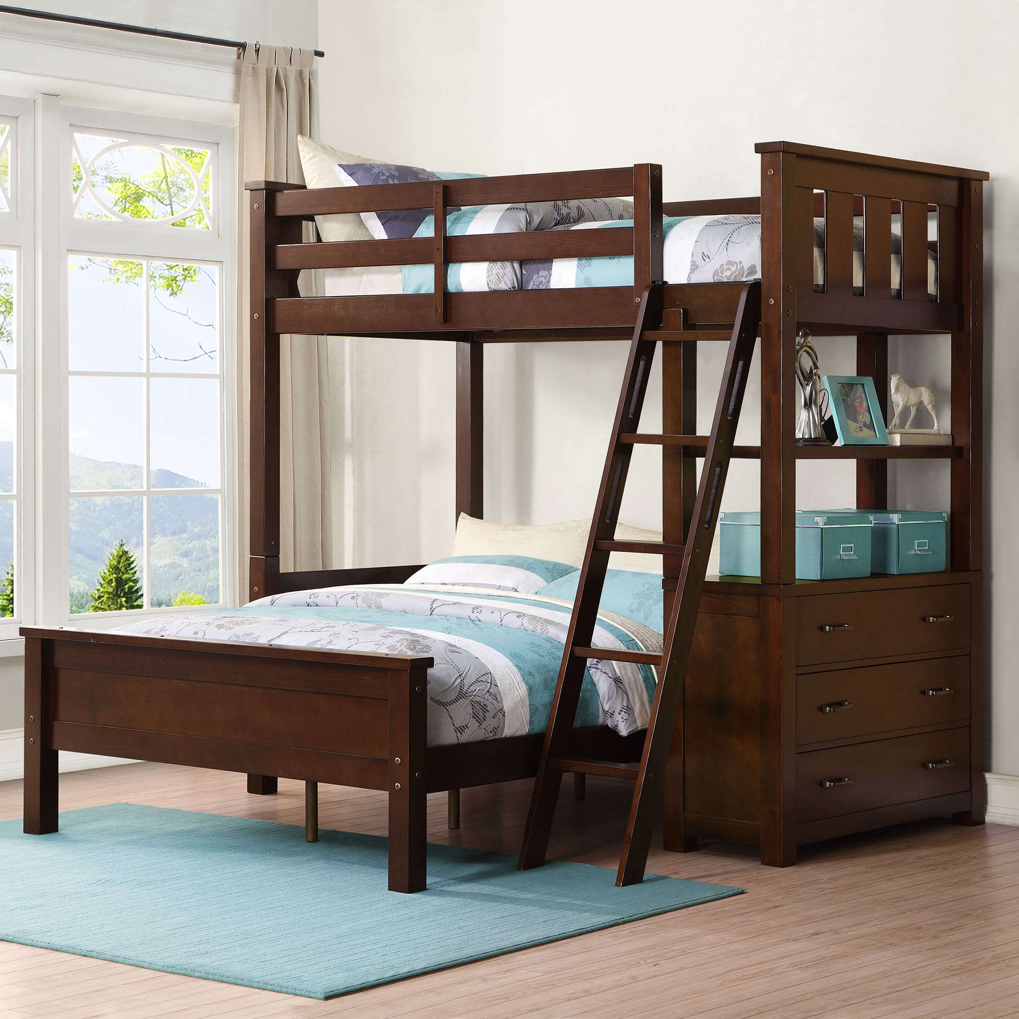 whalen nicholas twin over full wood loft bunk bed with storage