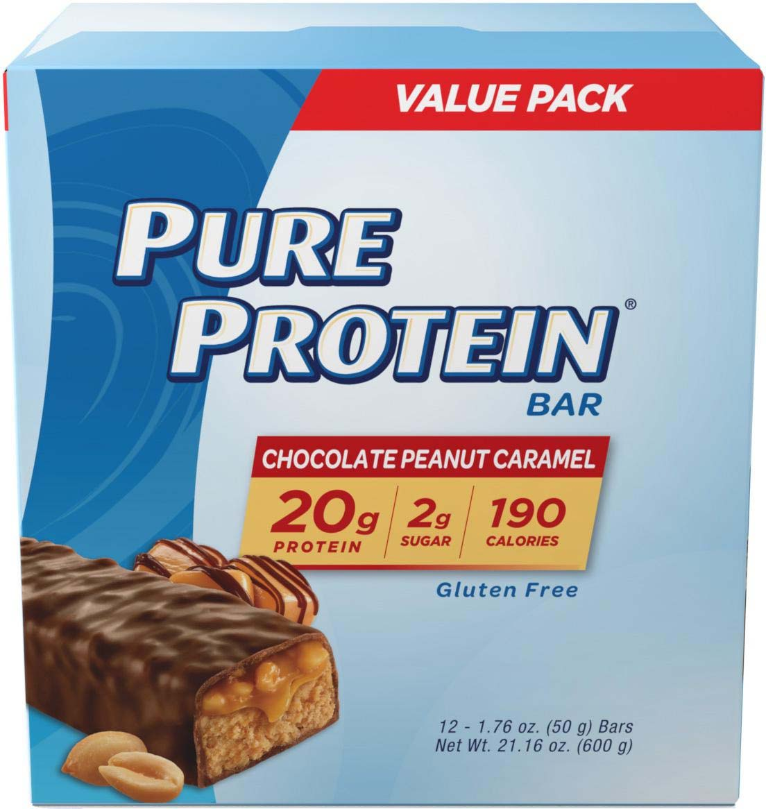 Pure Protein Bar, Chocolate Peanut Caramel, 20g Protein, 12 Ct