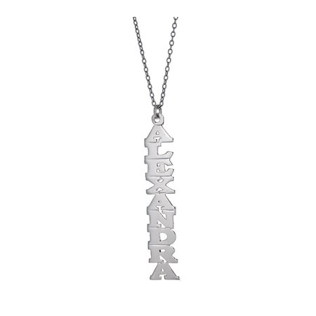Personalized .925 Sterling Silver Vertical Print Nameplate with Chain, 2 grams, MADE IN USA