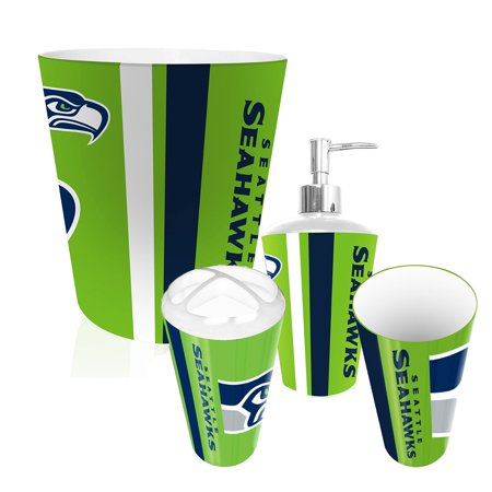Seattle seahawks nfl complete bathroom accessories 4pc set for Bathroom accessories at walmart