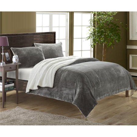 Chic Home SB1566-US 3 Piece Eve Blanket Set Soft Sherpa Lined Microplush Faux Mink, Grey