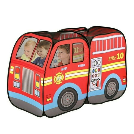 Fire Truck Engine Pop-Up Play Tent Playtent House Used Indoors or Outdoors PlayHouse Toys for Kids