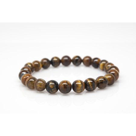 Wrist Beads Semiprecious Stone Bracelet - Real Tigers Eye Gemstones - for Chakra Healing and Balancing, fits Men and Women 7 inch - Adds Boho Charm to Any Outfit, by Orti Jewelry
