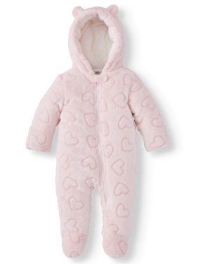 Wonder Nation Baby Girl Fleece Plush Snowsuit Pram